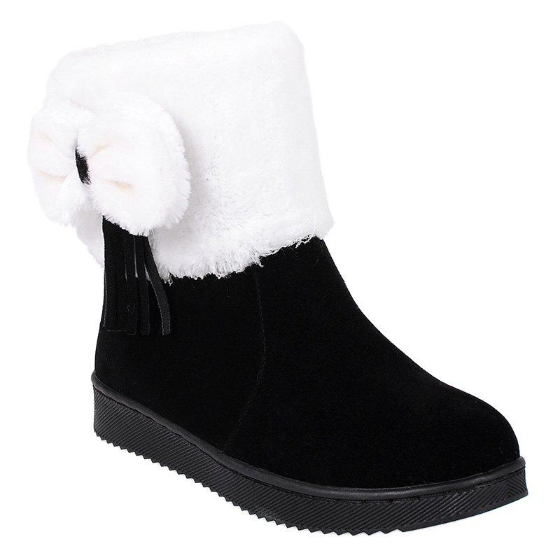 Discount Fringe Bow Suede Snow Boots
