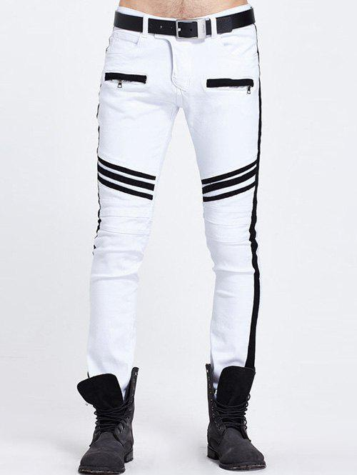Outfit Zippered Pocket Contrast Panel Skinny Jeans