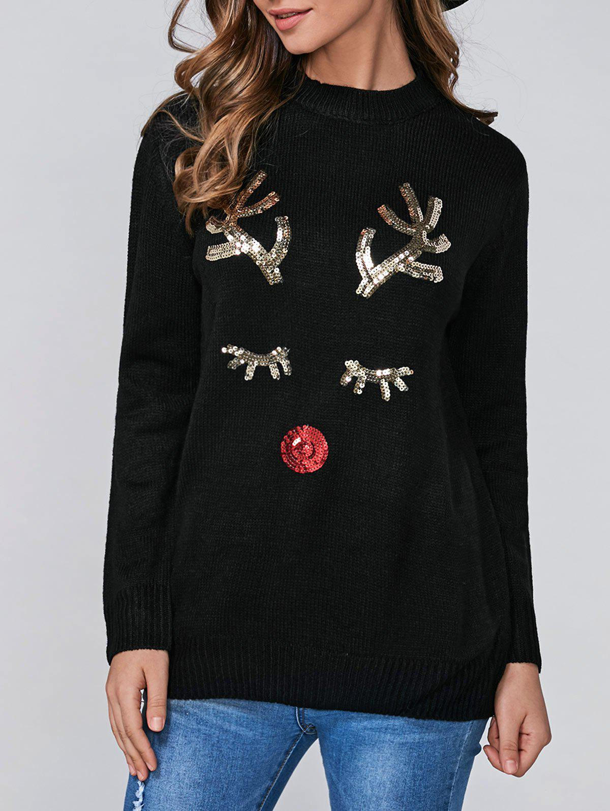 Christmas Sequins Deer Pullover SweaterWOMEN<br><br>Size: ONE SIZE; Color: BLACK; Type: Pullovers; Material: Polyester; Sleeve Length: Full; Collar: Round Neck; Style: Fashion; Pattern Type: Animal; Season: Fall,Spring,Winter; Weight: 0.450kg; Package Contents: 1 x Sweater;