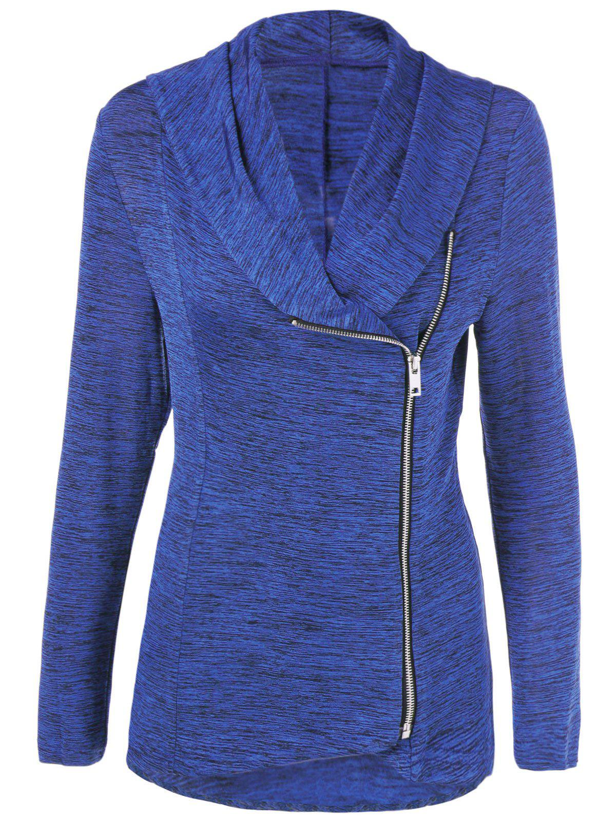Outfits Zipper Up Heathered Blouse