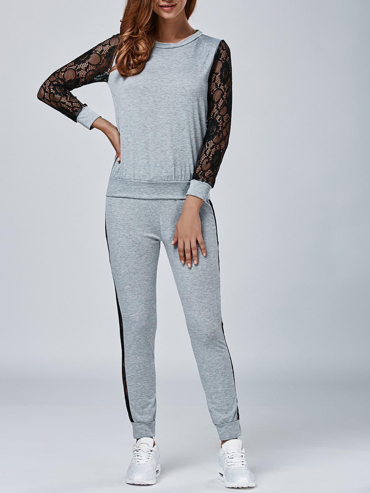 Chic Lace Splicing Sweatshirt with Pants