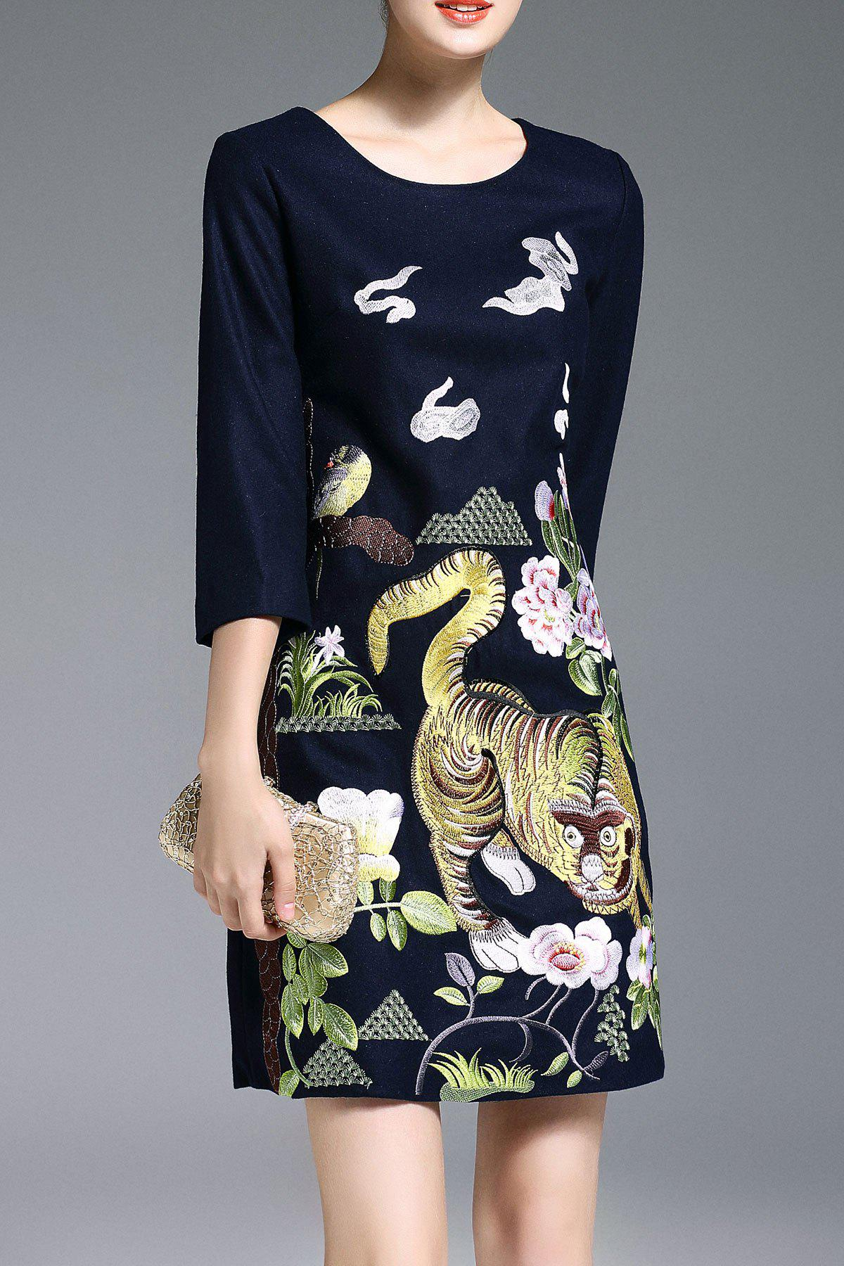 Shop Animal Embroidered A Line Dress
