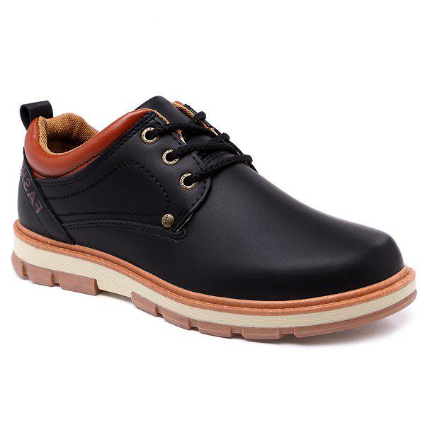 Affordable PU Leather Stitching Color Splice Casual Shoes