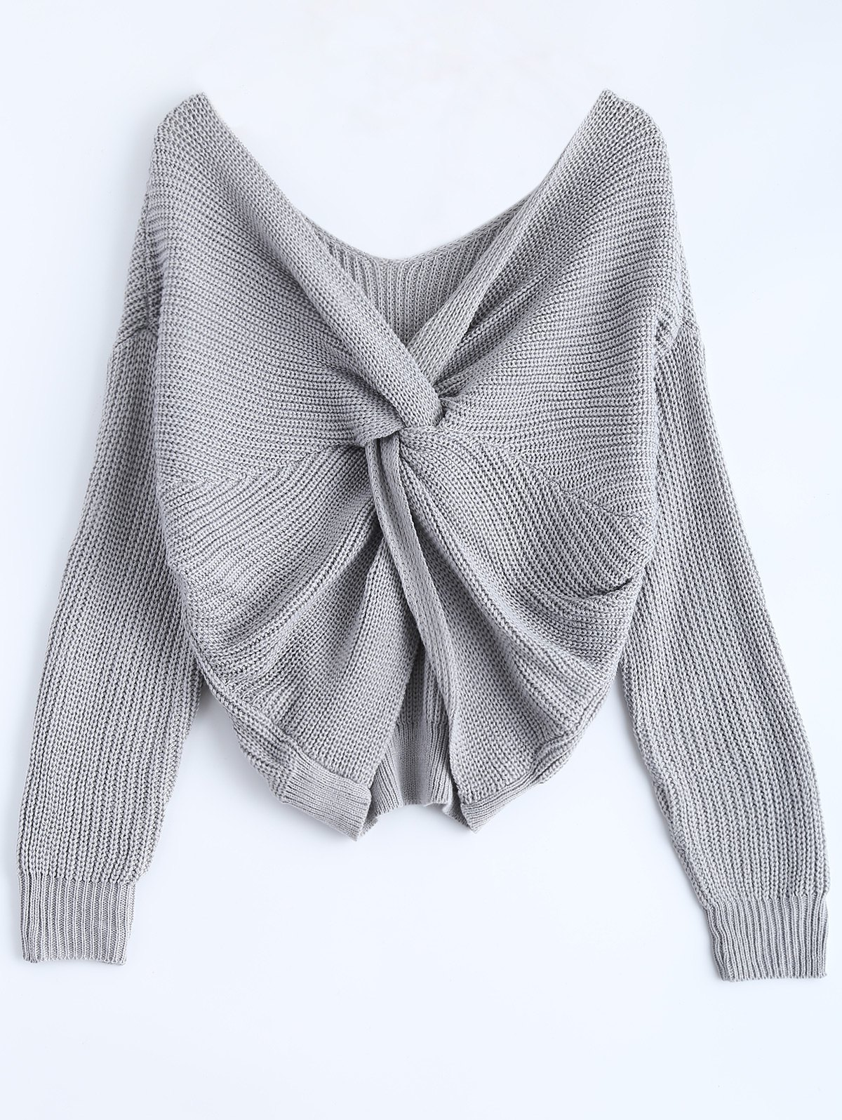 V Neck Knotted Back Chunky Jumper SweaterWOMEN<br><br>Size: ONE SIZE; Color: GRAY; Type: Pullovers; Material: Acrylic; Sleeve Length: Full; Collar: V-Neck; Style: Fashion; Pattern Type: Solid; Season: Fall,Spring; Weight: 0.390kg; Package Contents: 1 x Knitwear;