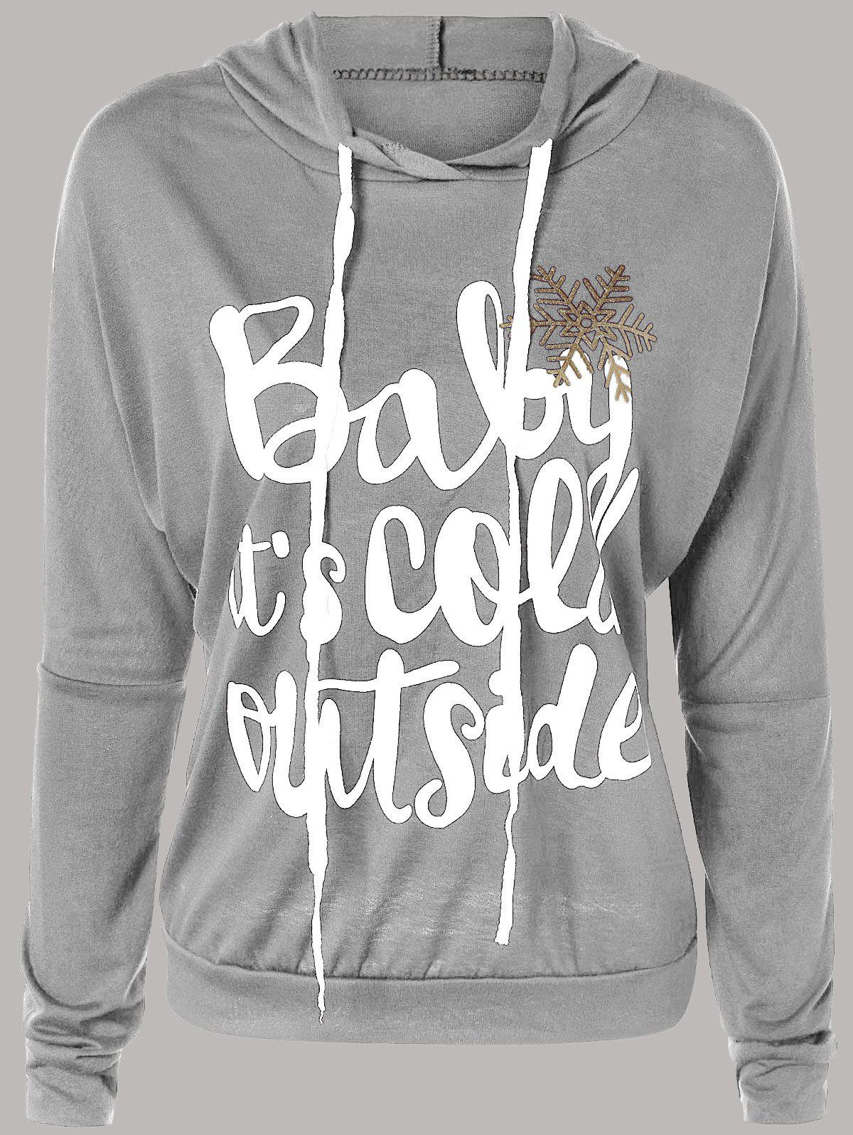 Letter Print Snow Pattern Plus Size HoodieWOMEN<br><br>Size: L; Color: LIGHT GRAY; Material: Polyester; Shirt Length: Regular; Sleeve Length: Full; Collar: Hooded; Style: Fashion; Season: Fall,Spring; Pattern Type: Letter; Weight: 0.330kg; Package Contents: 1 x Hoodie;