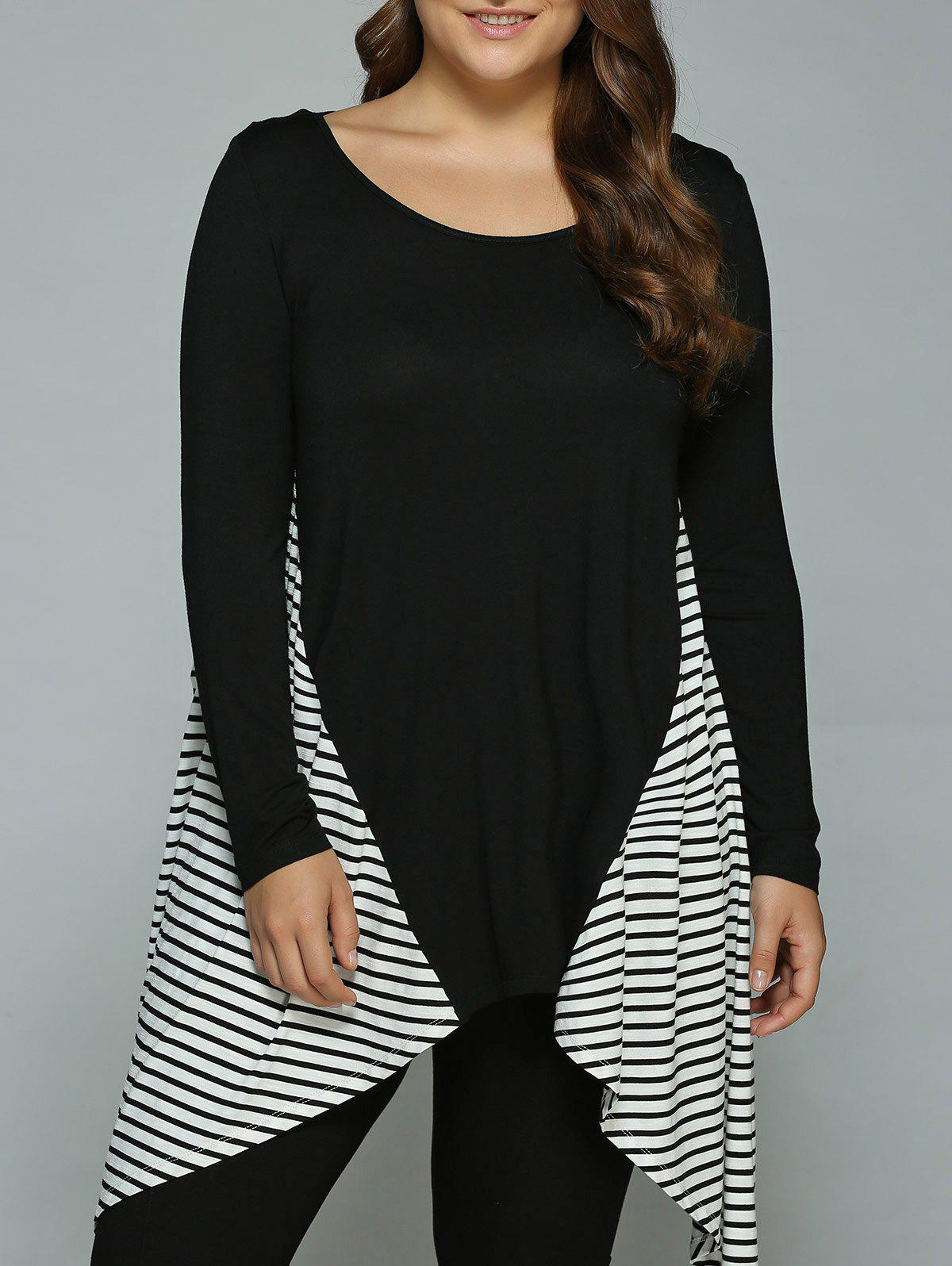 Hot Plus Size Striped Loose Fitting Asymmetrical Blouse