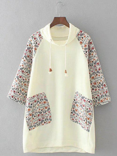 Discount Plus Size Retro Printed Patched Hoodie