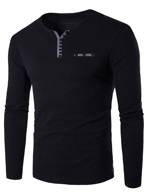 Notch Neck Button Embellished Long Sleeve T-ShirtMEN<br><br>Size: XL; Color: BLACK; Material: Cotton,Polyester; Sleeve Length: Full; Collar: V-Neck; Style: Casual; Embellishment: Button; Pattern Type: Solid; Season: Fall,Spring,Winter; Weight: 0.265kg; Package Contents: 1 x T-Shirt;