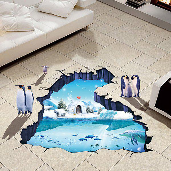 Creative Removable 3D Polar Ice Decoration Toilet Floor StickerHOME<br><br>Color: COLORMIX; Wall Sticker Type: 3D Wall Stickers; Functions: Decorative Wall Stickers; Theme: Animals,Landscape; Material: PVC; Feature: Removable,Washable; Size(L*W)(CM): 60*90; Weight: 0.446kg; Package Contents: 1 x Floor Sticker;