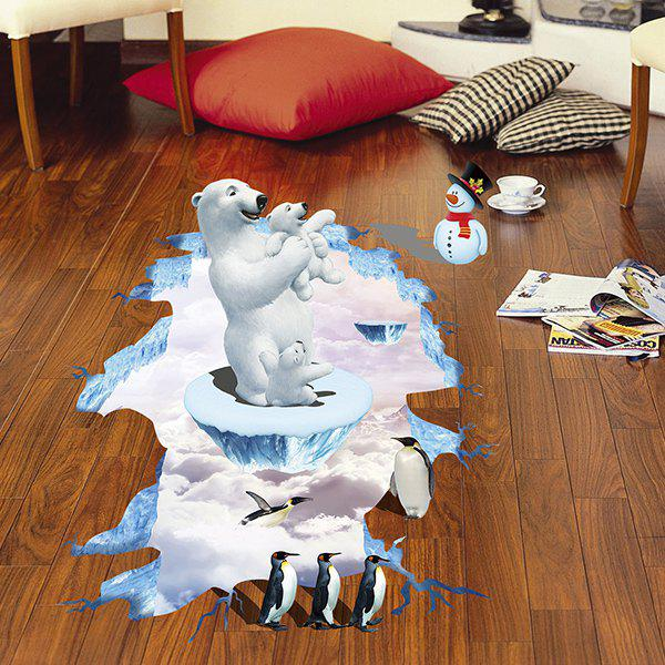 Outfit Creative Removable 3D Polar Bear Penguins Bedroom Kindergarten Floor Sticker