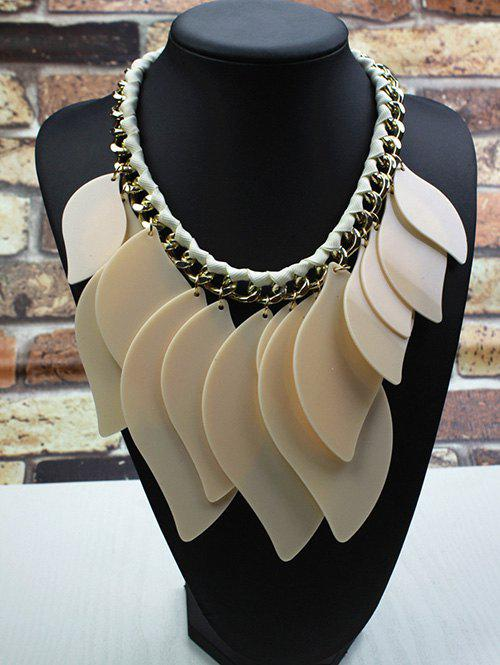 Geometry Leaves Statement NecklaceJEWELRY<br><br>Color: BEIGE; Item Type: Pendant Necklace; Gender: For Women; Necklace Type: Link Chain; Metal Type: Alloy; Style: Trendy; Shape/Pattern: Geometric; Weight: 0.110kg; Package Contents: 1 x Necklace;