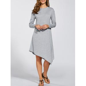 Long Sleeves Asymmetric Midi Dress - Light Gray - M