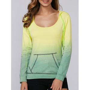 Ombre Rhinestone Design Hoodie - Yellow And Green - M