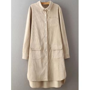 High Low Long Sleeve Shirt Corduroy Dress
