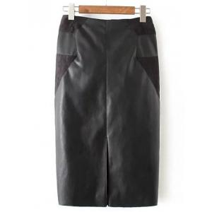 PU Leather Patchwork Midi Pencil Skirt - Black - M