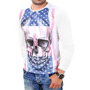 Skull 3D American Flag Print Long Sleeve T-Shirt