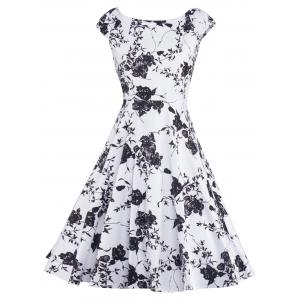 Floral Print Vintage Fit and Flare Dress - White And Black - L