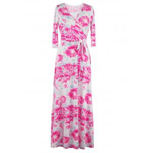 3/4 Sleeve Wrap Abstract Print Maxi Dress