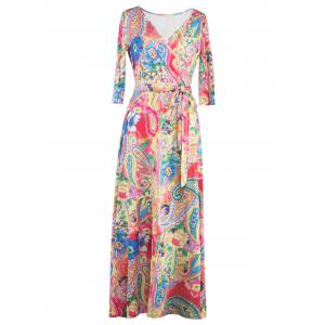 Wrap Patterned Maxi Dress with Sleeves