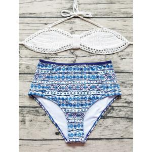 Halter Crochet Geometric Bikini Set - White - M