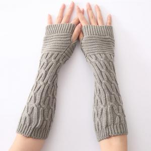 Christmas Winter Criss-Cross Crochet Knit Arm Warmers - Light Gray