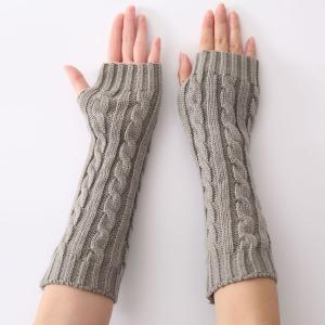 Christmas Winter Hemp Flowers Crochet Knit Arm Warmers - Light Gray