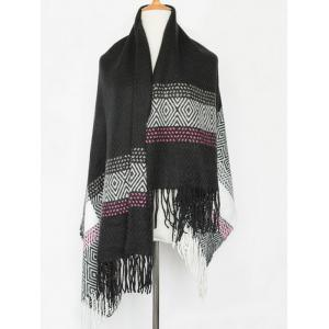 Winter Boa Rhombus Tassel Big Square Scarf - Black
