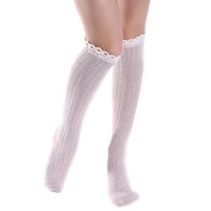 Knit Ribbed Stockings with Lace Trim - Off-white - One Size