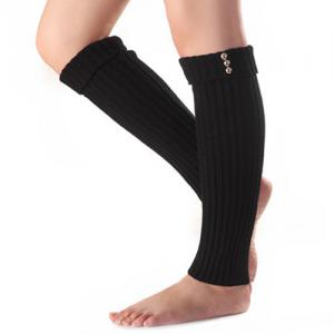 Christmas Winter Small Buttons Flanging Knit Leg Warmers - Black