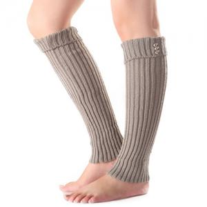 Christmas Winter Small Buttons Flanging Knit Leg Warmers - Light Gray