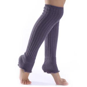 Christmas Winter Small Hemp Flowers Knit Leg Warmers - Deep Gray