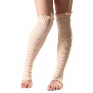 Christmas Winter Lace Edge Knit Footstep Leg Warmers - Off-white