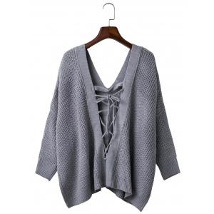 Loose Back Lace Up Plunge Neck Sweater