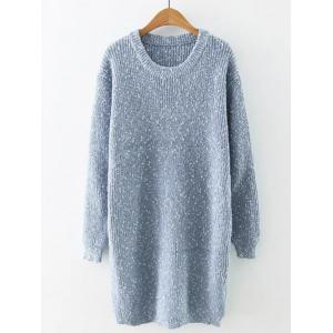 Preppy Style Fitted Warm Long Sweater - Light Blue - One Size