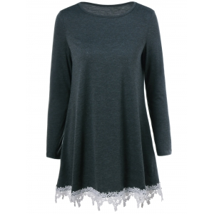 Lace Trim Loose Fitting Blouse - Black Grey - L