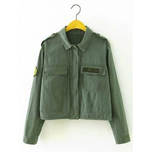 Patch Cropped Shirt Jacket with Pocket - Army Green - S
