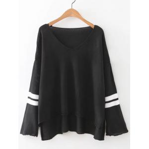 V Neck High Low Knitted Sweater - Black - M