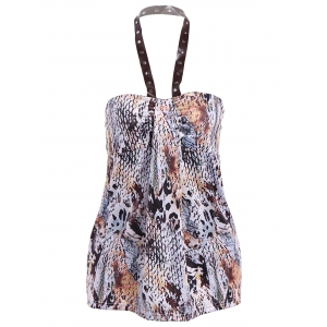 Rivet PU Halter Amazon Rainforest Boa Skin Tank Top