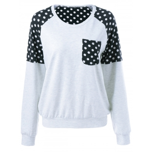 Polka Dot Trim Single Pocket Sweatshirt