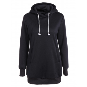 Pleated Pullover Long Hoodie
