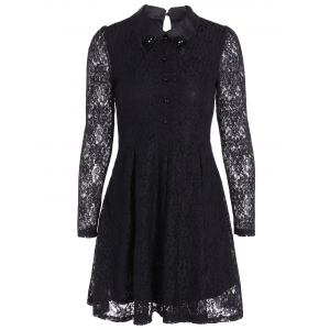 Mini Lace A Line Dress with Sleeves