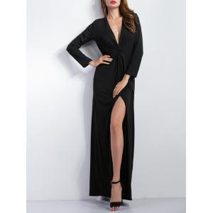Draped Long Sleeve Front Slit Maxi Prom Dress