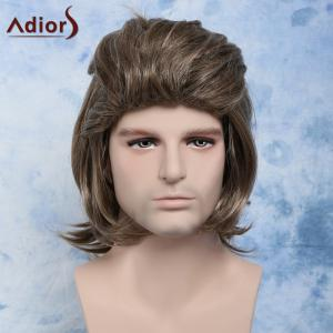 Men Fluffy Mullet Hairstyle Full Bang Mixed Color Cosplay Synthetic Wig