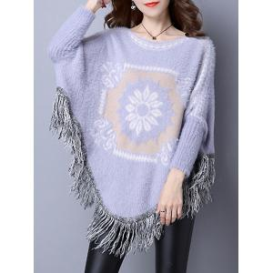 Flower Jacquard Fringed Cashmere Cape