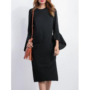 High Slit Bell Sleeves Sheath Dress