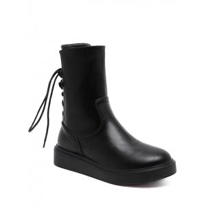 Tie Up Zip Platform Short Boots - Black - 38