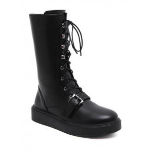 Lace-Up Buckle Platform Mid-Calf Boots - Black - 39