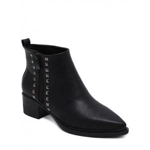 Pointed Toe Metal Rivets Zipper Ankle Boots