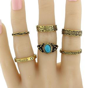 Faux Turquoise Circle Jewelry Fingertip Ring Set