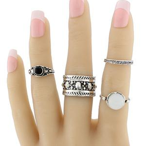 Faux Opal Circle Jewelry Fingertip Ring Set